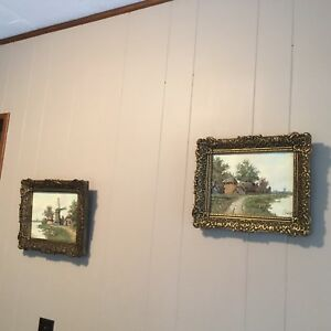 Pair-Framed-Oil-On-Canvas-Signed-Dutch-Windmills-Free-Ship