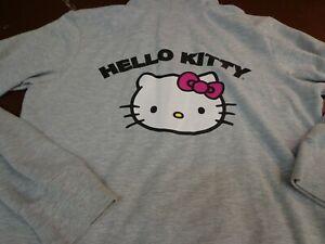 Hello-Kitty-Full-Zip-Hoody-Hoodie-Girls-Size-Large-Gray-b3