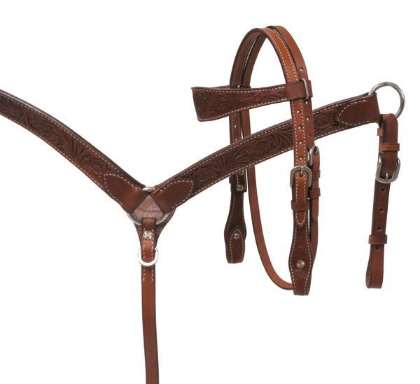 Showman MINI Horse Size FLORAL Tooled LEATHER Bridle Breast Collar & Reins SET