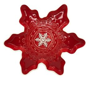Hallmark-Christmas-Snowflake-Shape-Candy-Dish-Red-White-Holiday-Decoration-Gift