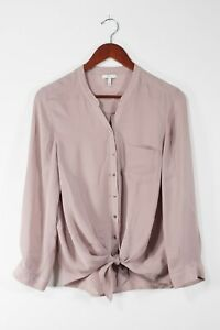 Joie-Womens-Small-Pink-Edaline-Blouse-Button-Down-Silk-Long-Sleeve-Tie-Front-Top