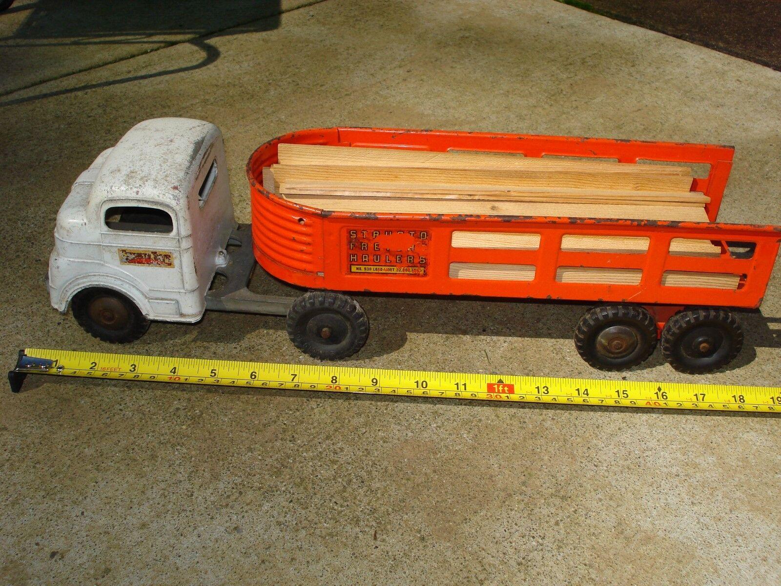 Vintage Structo frieght Hauler Semi Camión Y Trailer Coleccionable De Construcción