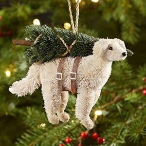Pottery Barn Bottle Brush Yellow Lab Dog With Christmas