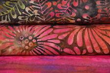Lot de 3 coupons tissu patchwork batik Moda brun, rouge et fushia