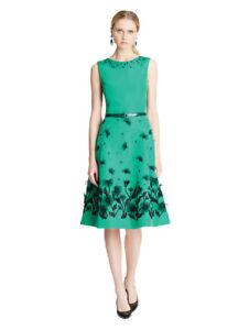 $5990 New Oscar de la Renta Blue Vine Embroidered Silk Faille Cocktail Dress 0 2