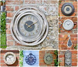 Garden-Wall-Clock-Outdoor-Indoor-Thermometer-Novelty-Home-Decor-Roman-Numerals