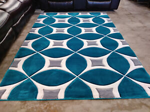 New Hand Carved 8x11 Abstract Grey Turquoise Area Rugs