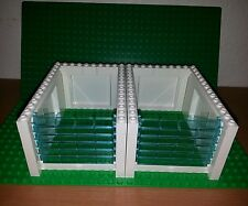 Lego New garage doors X2 w/ panels Walls (white W/ Handle & Trans-blue Rollers)