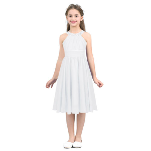 Kids Girls Cold Shoulder Dress Flower Girl Dress Birthday Party Summer Holiday