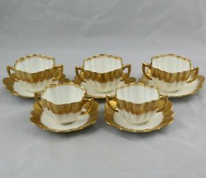 5-Antique-English-Porcelain-Gold-Bouillon-Cups-amp-Saucers-English-Registry-Number