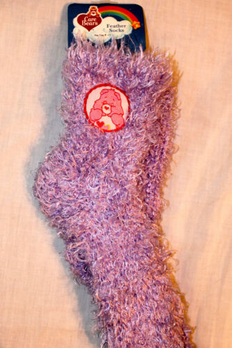 9-11 ADULT SIZE NEW CARE BEARS  PURPLE FEATHER SOCKS