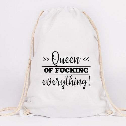 """Farben Geschenk JUNIWORDS Turnbeutel Motiv /""""Queen of fucking everything!/"""" ver"""