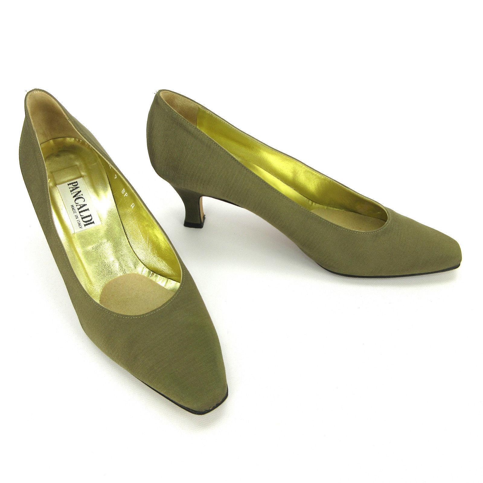 Pancaldi Womens Textured Heels 9 B Bronze Textured Womens Fabric Square Toe Slip On Pumps Italy cdd935