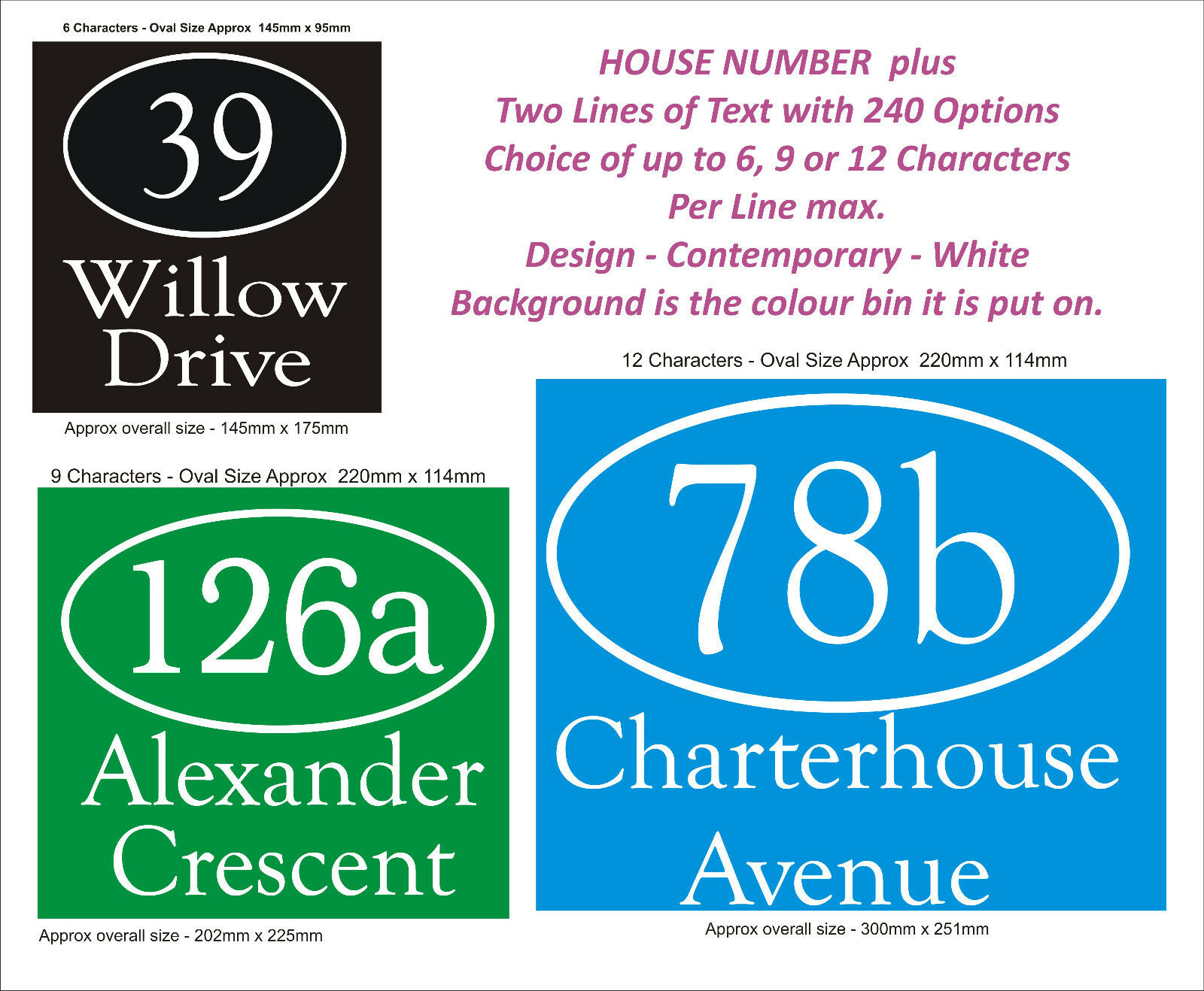 Wheelie Bin Number & Name 2 Lines - Choice of 1 to 5 x Sets, 5 Styles, 2 Colours