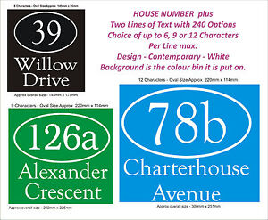8dc77d0ecb46 Details about Wheelie Bin Number & Name 2 Lines - Choice of 1 to 5 x Sets, 5  Styles, 2 Colours