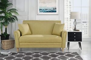 Modern-2-Tone-Small-Space-Linen-Fabric-Loveseat-Sofa-with-2-Pillows-Yellow
