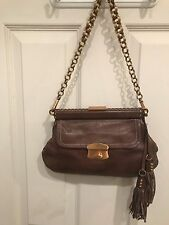 Prada Brown Leather Handbag Purse Clutch