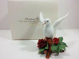 Lenox-Anual-Navidad-Paloma-1993-Abierta-Alas-Rojo-Rosas-Fino-Porcelana