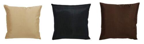 "2 x Faux Silk Satin Plain Filled Cushion Covers Inner Pads 18/"" x 18/"" Home Deco"