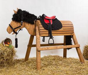 Holzpferd-Pferd-Voltigierpferd-bew-Kopf-ca-115-116cm-Lasur-Kastanie-inkl-Zubehoer