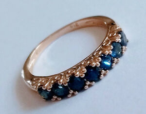 R302-Genuine-9K-Rose-Gold-Natural-Sapphire-7-stone-Half-Eternity-Ring-size-N