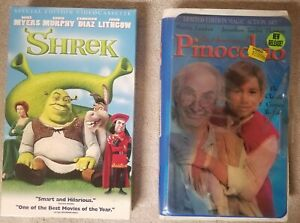 Lot Of 2 Vhs Kids Movies Shrek And Live Action Pinocchio Ebay