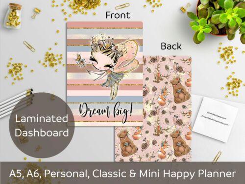 Personal Happy Planner A5 Dream big! Laminated Dashboard Mini HP Fairy