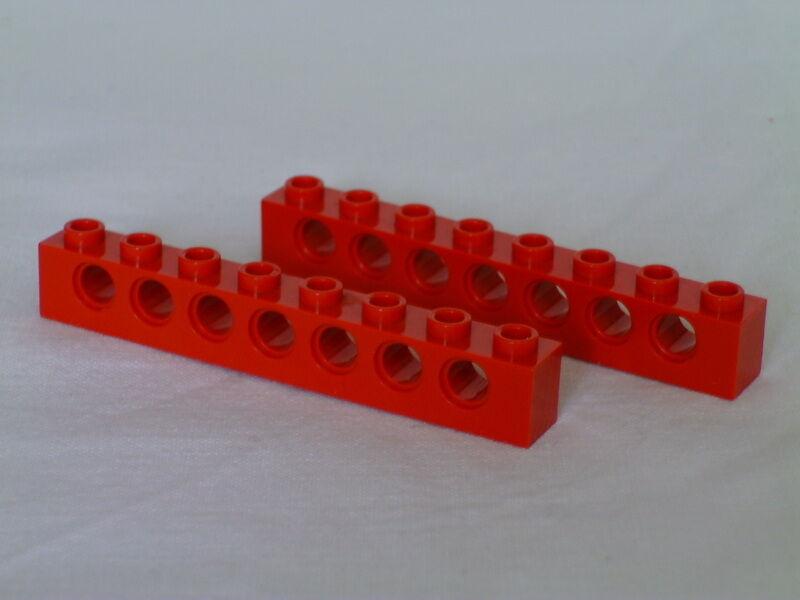 3 x LEGO® 3702 Technik Lochbalken 1x8 rot wie auf dem Foto gebraucht.