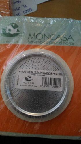Recambio de filtro y junta para cafetera de 12 tazas MONCASA