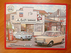 TOLE-PLAQUE-METAL-SIMCA-1000-GARAGE-STATION-SERVICE-ESSENCE-AVIA-TIN-SIGN