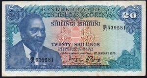 1975-KENYA-20-SHILLINGS-BANKNOTE-B-71-539581-VF-P-13b