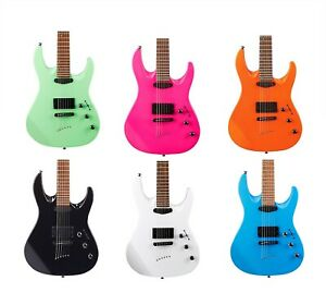 Mitchell MD200 Double Cutaway Electric Guitar Black White Blue Orange Green Pink