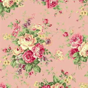 Quilt Gate Rose Garden Floral Bouquets Pink Cotton Fabric RU2410-11B BTY