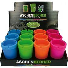 """4x Auto-Aschenbecher Wind Aschen-Becher """"Colors"""" 11x8 cm windgeschützt rauchfrei"""