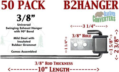 """B2HANGERx50 Exhaust Hanger Southern J Hook 3//8/"""" 90Вє Rod w// Rubber Grommet"""