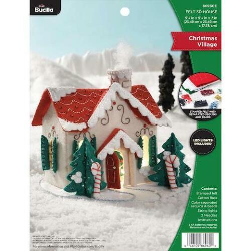 Bucilla Felt Applique Kit 3D Christmas Village House with LED Lights