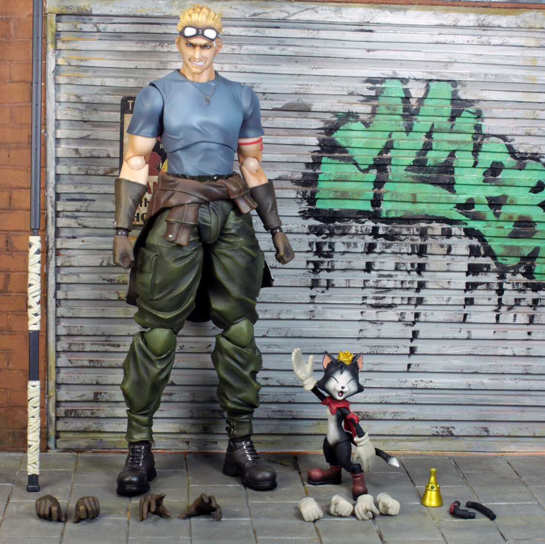 Final Fantasy VII Cid Highwind & Cait Sith Play Arts Kai Action Figure NO BOX