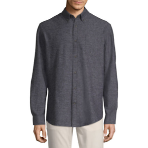 Men-039-s-St-John-039-s-Bay-Long-Sleeve-Flannel-Shirt-Color-Black-Jaspe-Size-Large