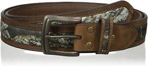 Nocona-Men-039-s-Mossy-Oak-Camo-Center-Inlay-Leather-Belt