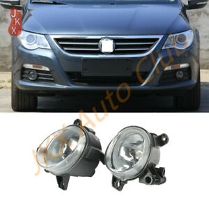 Set Front Driving Fog Light Lamps With Cover Grille For 2009-2012 VW CC