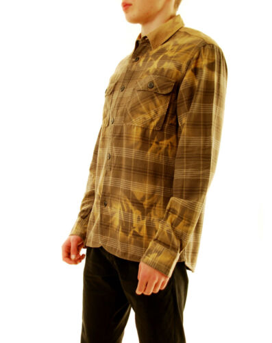 PRPS Mens Plaid Stylish E61S22C Shirts Relaxed Brown Size L