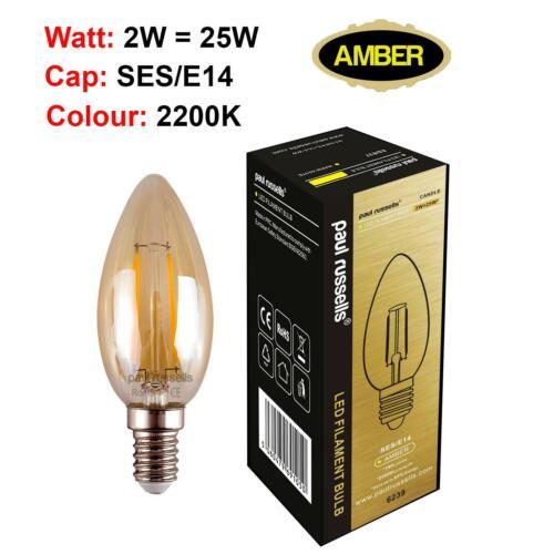 2W 4W 6W 8W LED Filament Lamp Edison Bulb Amber Retro Vintage Light BC ES SES A+