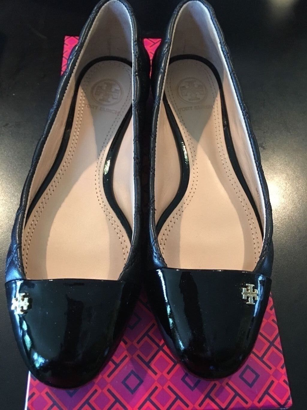 Tory Burch Black Patent Leather Loafers - size 6.5C