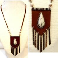 Western Faux Leather Medallion White Teardrop Acrylic Turquoise Beads Fringe