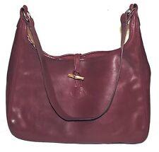 Vintage LONGCHAMP Roseau Burgundy Red Real Leather Medium Shoulder Bag FRANCE