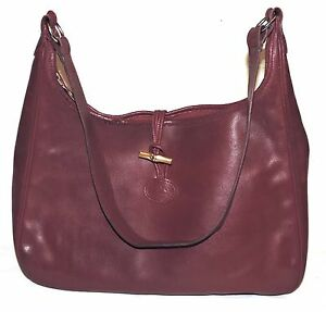 e306e7ab7b3 Image is loading Vintage-LONGCHAMP-Roseau-Burgundy-Red-Real-Leather-Medium-