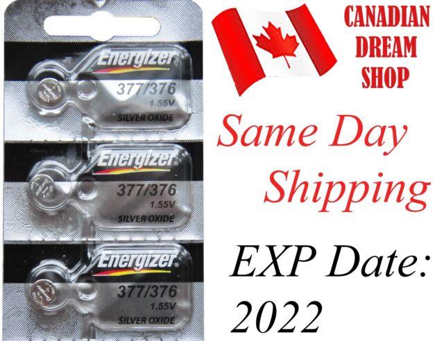 3 PC Energizer 377 / 376 SR626SW LR626 AG4 177 LR66 D377 SILVER OXIDE BATTERY