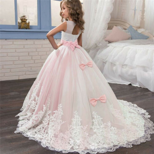 Girl Princess Bridesmaid Pageant Floral Tutu Lace Tulle Gown Party Wedding Dress
