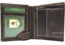 Mens Wallet Distressed Real Leather Trifold Visconti Hunter New in Gift Box 708