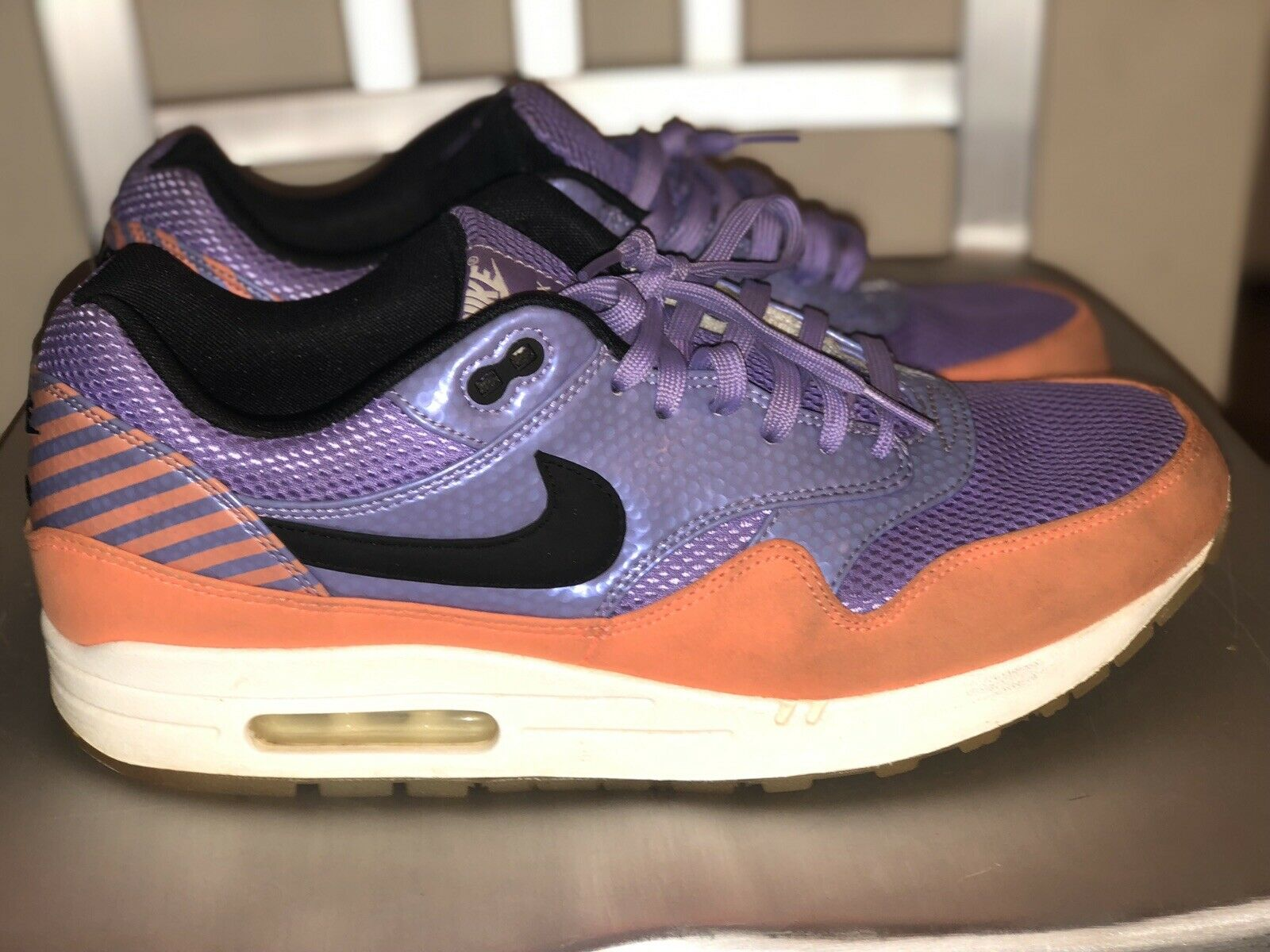 Nike Air Max 1 Premium Mercurial Pack FB Atomic Violet Black Orange Size 11.5